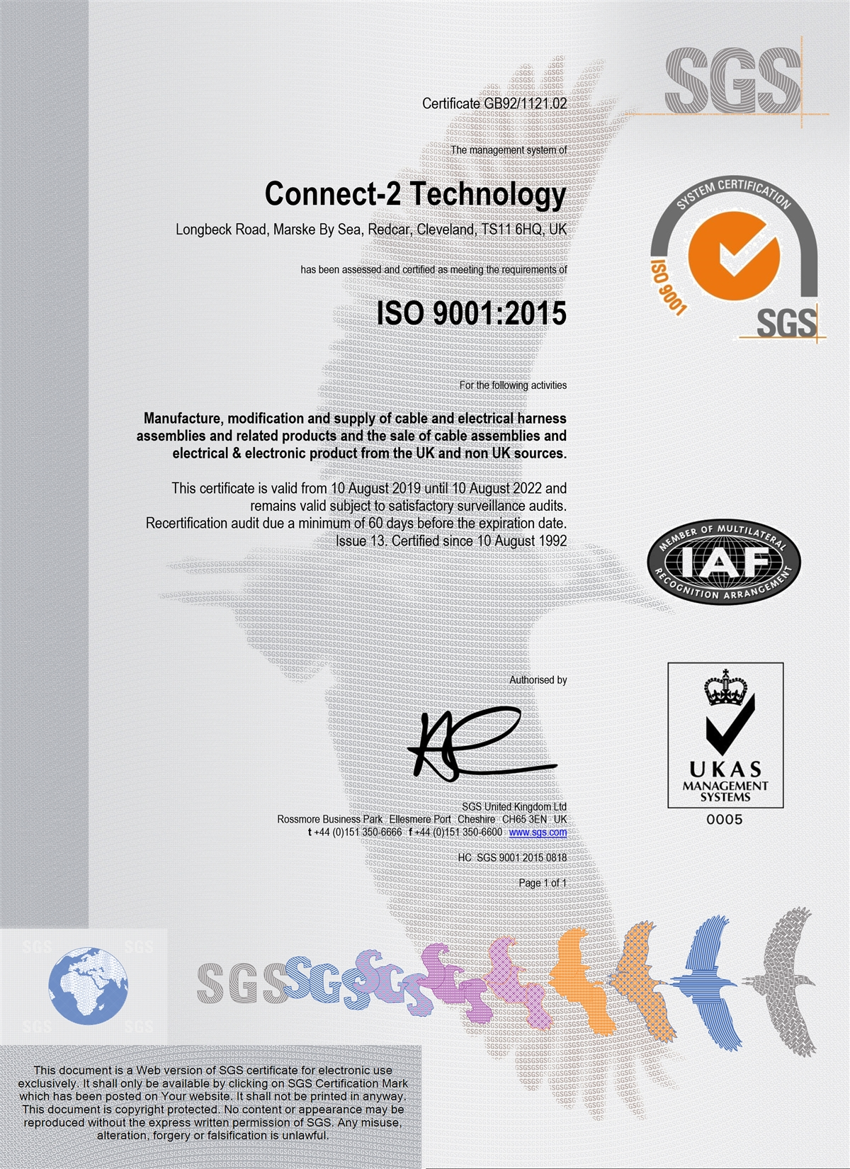 Connect-2 Technology ISO9001/2015 certificate