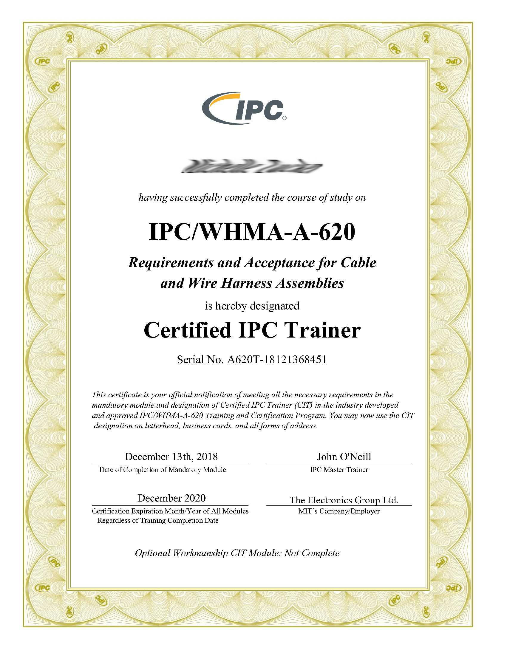 IPC-A-620 Certificate
